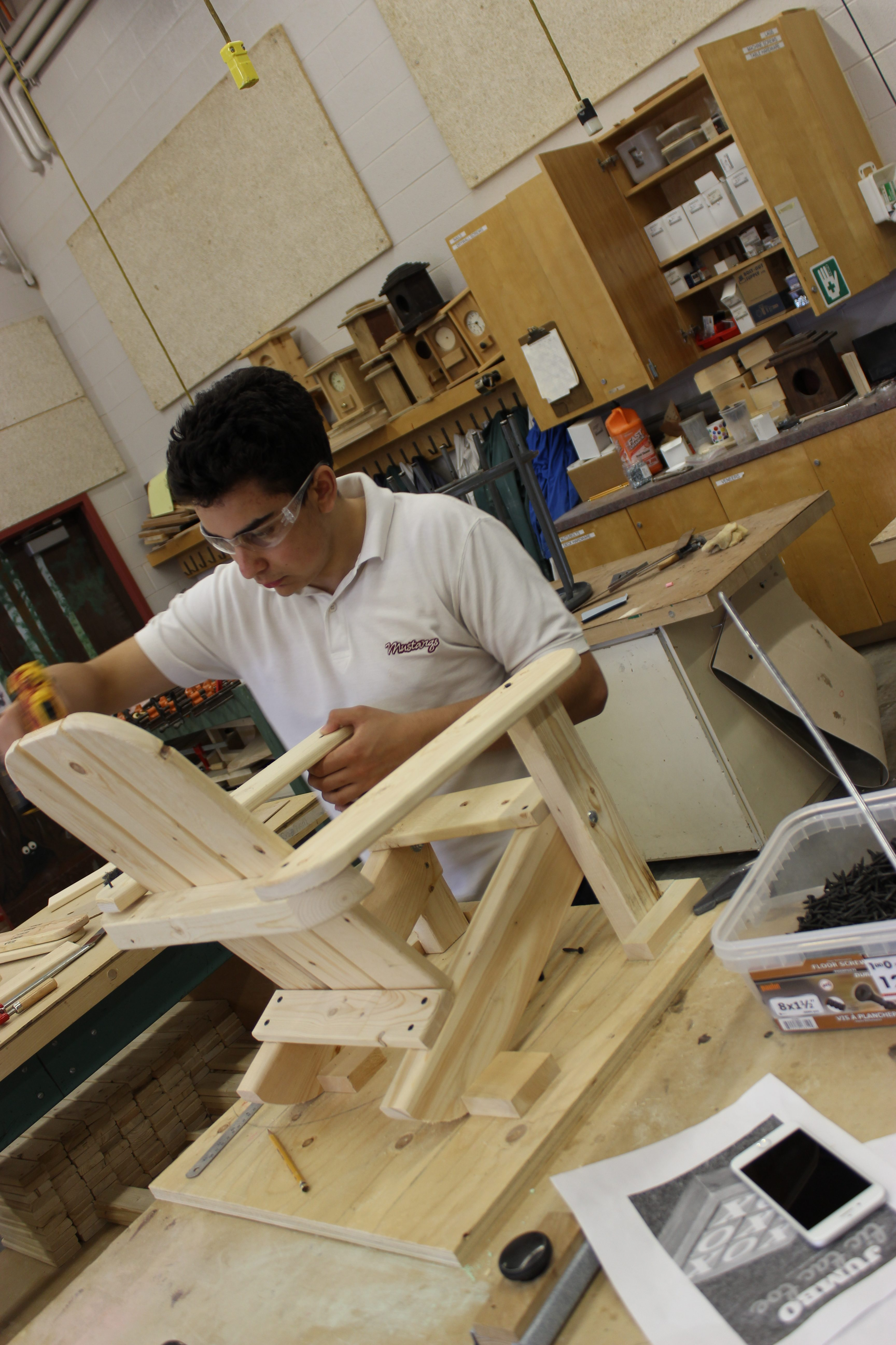 Student is Making Wooden Chair