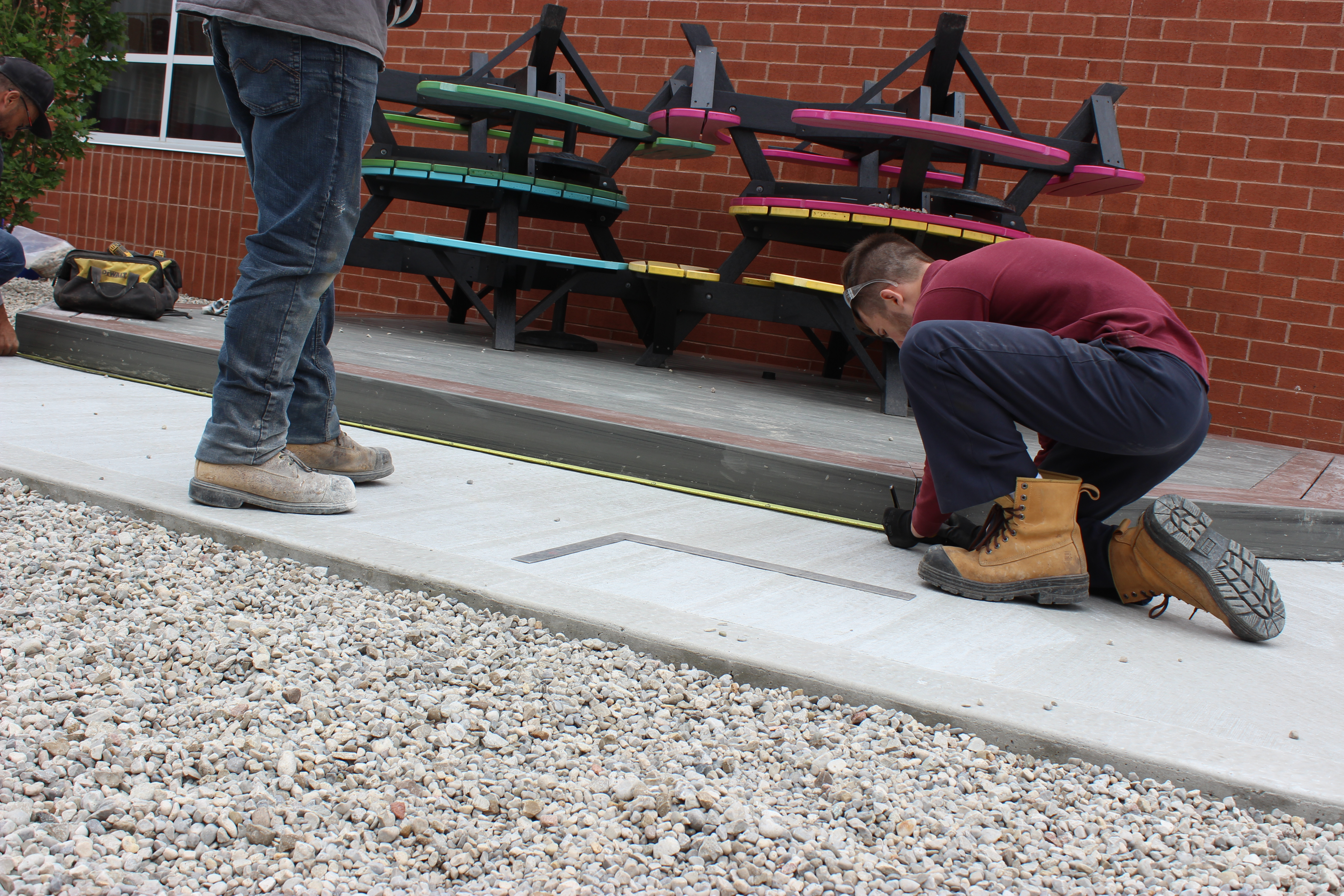 Students measuring distance